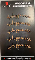 ICraft Wooden Embellishments - Happiness small
