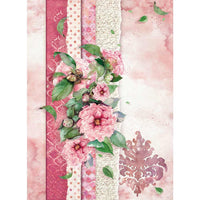 Stamperia - Rice Paper Sheet A4 - Flowers For You Pink