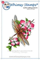 Whimsy - Rubber Stamp - Dragonfly Floral