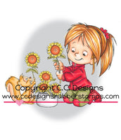 Nancy with Sunflowers - RB1094 - Rubber Stamp