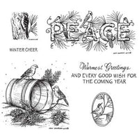 Northwoods Rubber Stamps - Peace & Birds On Water Pail