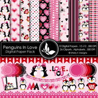 Papericious Designer Edition Paper Pack - Penguins in love 12