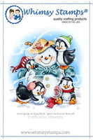 Whimsy - Cling Rubber Stamp - Penguins Build a Snowman - C1259