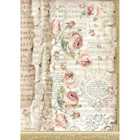 Stamperia - Rice Paper Sheet A4 - Roses & Music, Princess