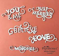 Papericious White Chippis - Chipboard Cut Outs - Sentiments
