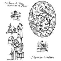 Northwoods Rubber Stamps - Winter Birdhouses & Blue Jay Oval