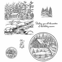 Northwoods Rubber Stamps - Winter Church & Cabin