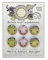 Darcie Heater Designs Flat Back Tin Pin - Peeking Ghouls - DHD401