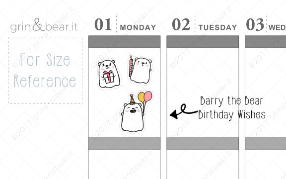 Birthday Wishes! - Barry the Bear Stickers (BB007)