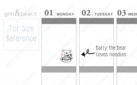 Barry Loves Noodles! - Barry the Bear Stickers (BB021)