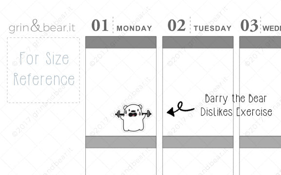 Barry Hates Exercise! - Barry the Bear Stickers (BB032)