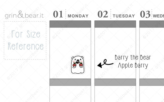 Apple Barry! - Barry the Bear Stickers (BB046)