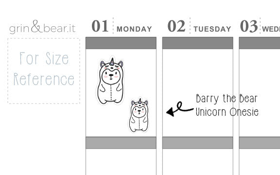 Unicorn Onesie Barry! - Barry the Bear Stickers (BB079)