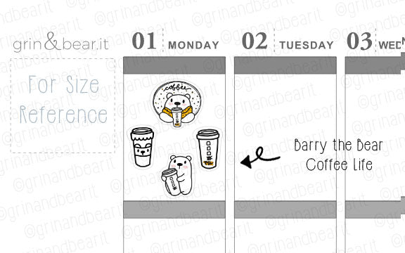 Coffee Life Barry! - Barry the Bear Stickers (BB085)