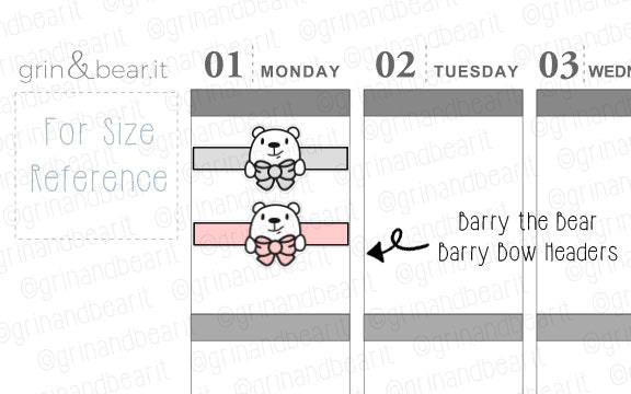 Bow Headers Barry! - Barry the Bear Stickers (BB093)