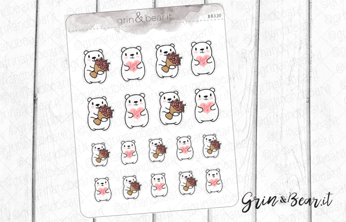 Hearts & Flowers Barry! - Barry the Bear Stickers (BB120)