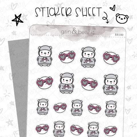 Barry Loves Sunnies! - Barry the Bear Stickers (BB180)