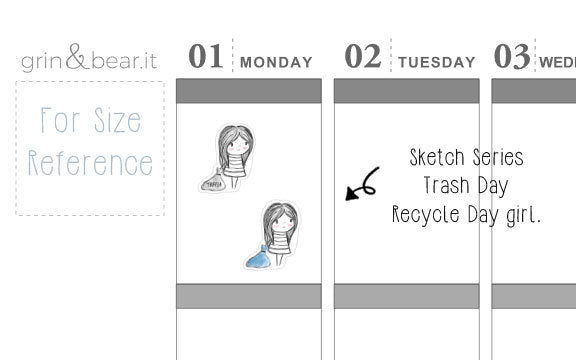 Trash/Recycle Day Sketchy Planner Stickers (SS007)