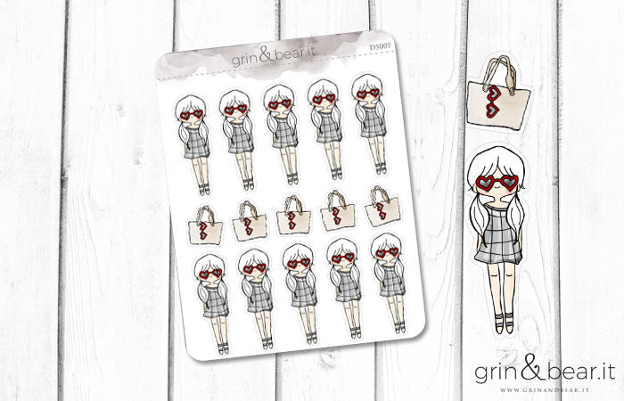 Heart Glasses Girl! Doodle Stickers (DS007)