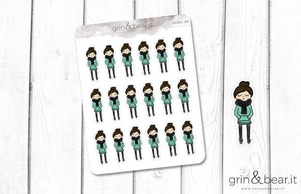 Hoodie and Bun Hair - Everyday Girl Stickers (EG001)