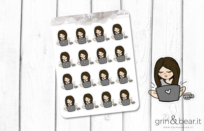 Laptop Working and Coffee - Everyday Girl Stickers (EG002)