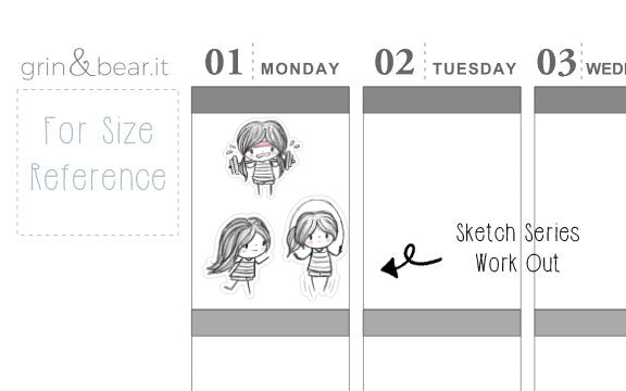 Work Out Sketchy Planner Stickers (SS010)