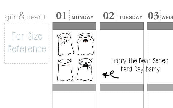 Hard Day - Barry the Bear Stickers (BB005)