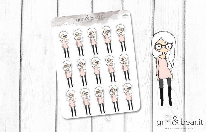 Glasses Girl! Doodle Stickers (DS006)