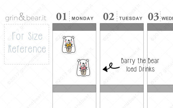 Iced Drinks! - Barry the Bear Stickers (BB008)