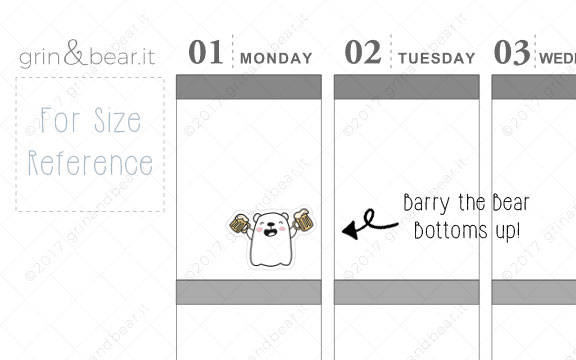 Bottoms UP! - Barry the Bear Stickers (BB012)