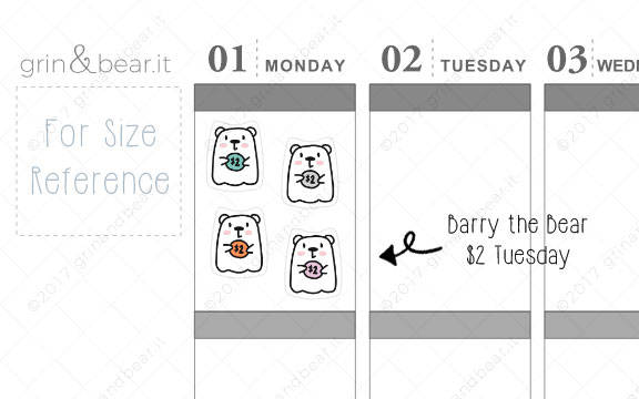 Two Dollar Tuesday Barry! - Barry the Bear Stickers (BB040)