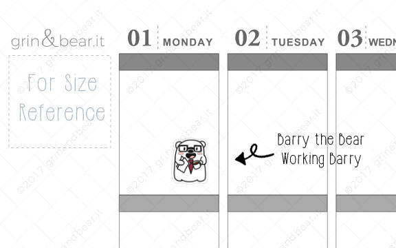 Working Barry! - Barry the Bear Stickers (BB047)