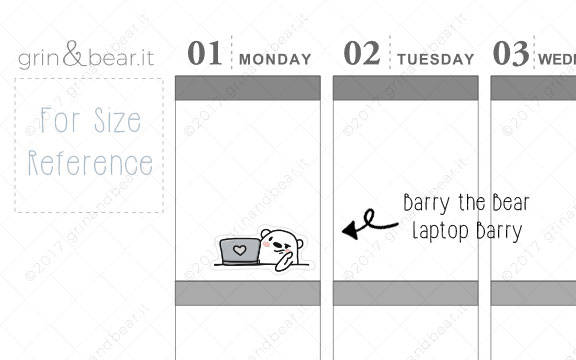 Laptop Barry! - Barry the Bear Stickers (BB051)