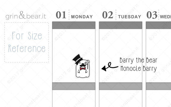 Monocle Barry! - Barry the Bear Stickers (BB050)