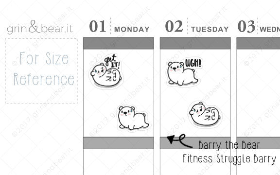 Fitness Struggles Barry! - Barry the Bear Stickers (BB064)