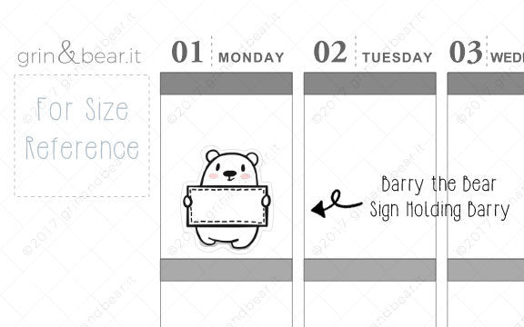 Sign Holding Barry! - Barry the Bear Stickers (BB066)