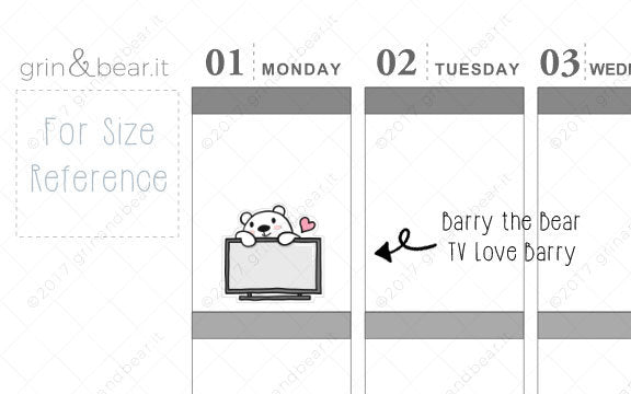 TV Love Barry! - Barry the Bear Stickers (BB070)