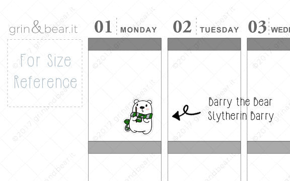 Slytherin Barry! - Barry the Bear Stickers (BB068)