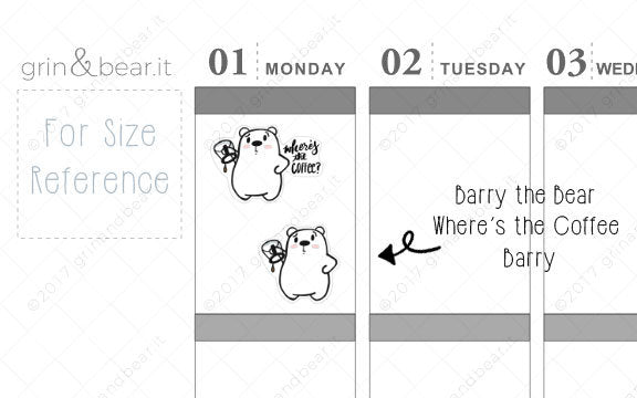 Where's The Coffee Barry! - Barry the Bear Stickers (BB071)