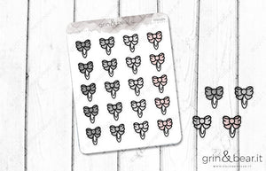 Bow Clip Doodle Stickers (DS012)