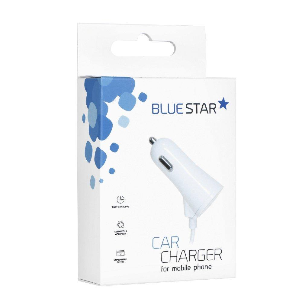 зарядно за кола  for  iPhone 5/6/6s/7/8/x with data кабел + usb socket 3a blue star white