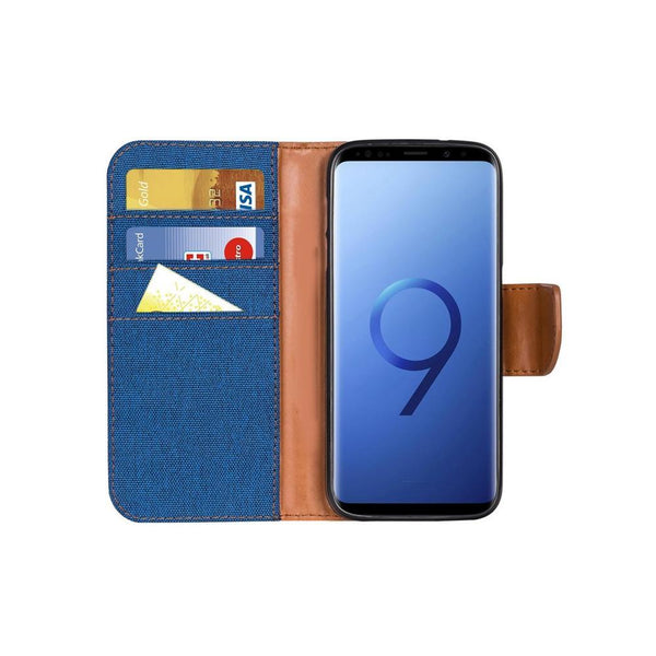 Canvas калъф тип книга - samsung galaxy s9 plus син - S9Plus
