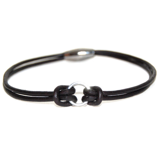 Sterling silver leather ring bracelet with gunmetal hematite ring and magnetic clasp.