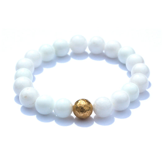 White Agate beaded bracelet with 22K Gold Plated Bead.