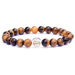 14k gold star dust beaded bracelet with Sterling Silver Ring and Tiger Eye beads.