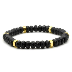 Hexagon bracelet with Onyx matte Faceted beads.