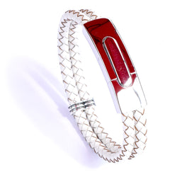 Silver Clasp White Leather Bracelet