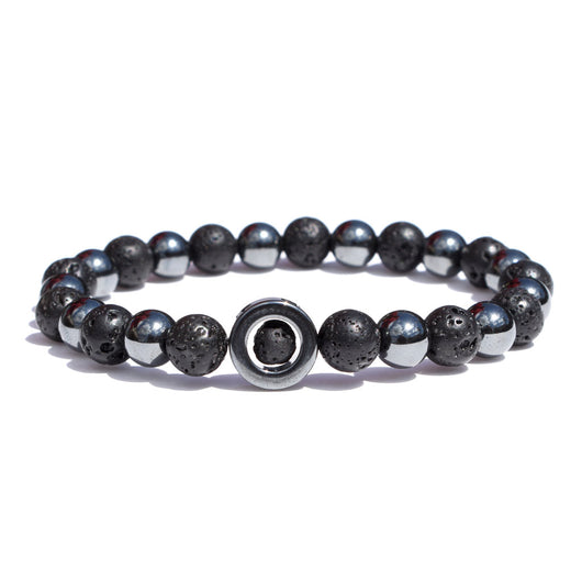 Stretch-band hematite ring bracelet
