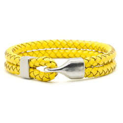Double braided Yellow leather bracelet with silver metal clasp.