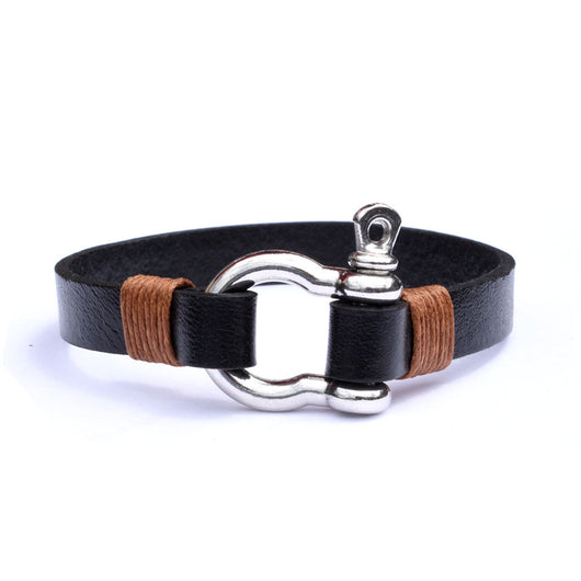 Silver Shackle clasp bracelet with flat black leather cord and light brown macrame acc